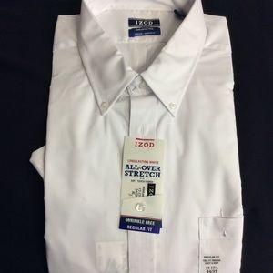 17-17.5 Izod NWT Button Up Dress Shirt -1 Button